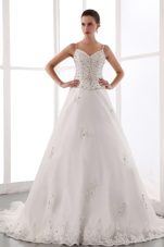 Magnificent Spaghetti Straps Wedding Dress A-line Lace Beading