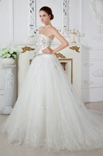 Exqusite Beading Wedding Gown A-line Strapless Court Train Tulle