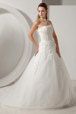 Attractive A-line Appliques Strapless Court Train Organza Wedding Dress