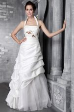 Modest Halter Taffeta Appliques Wedding Bridal Dress
