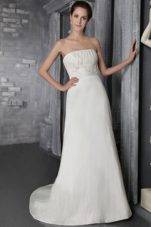 Simple Brush Train Taffeta Appliques Wedding Bridal Dress