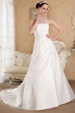 A-line Appliques Organza Beading Court Train Wedding Dress
