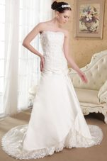 Exclusive Appliques Strapless Brush Train Bridal Dress