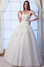 Best Princess Strapless Tulle Beading Appliques Wedding Dress