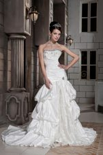 Elegant Drop Pick-ups Taffeta Beading Mermaid Wedding Dress