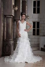 Stunning Drop V-neck Ruched and Ruffled Layers Bridal Dress