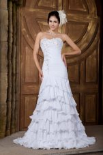Dreamy Ruched Chiffon Ruffled Layers Beach Wedding Dress