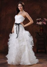 Black Waist Sash Sweetheart Bridal Dress With Ruffled Layers