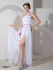 One Shoulder Sash Slit White Prom Dress