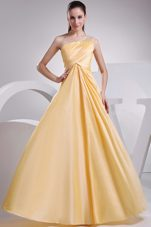 Yellow One Shoulder Ruch A-line Prom Dress