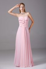 Beading Ruching Pink Chiffon Prom Evening Dress