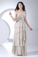Prom Dress One Shoulder Ruffled Layers Grey