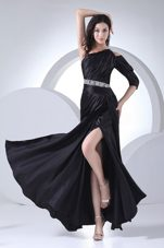 High Slit One Shoulder Beading Black Prom Dress