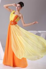 Hand Made Flowers Beading Ruching colorful Prom Dress