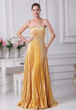 Pleated Beading Belt Gold Prom Dress