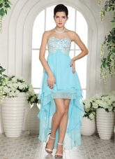 Aqua Blue Appliques Sweetheart High-low Prom Dress 2013