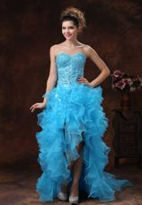 High-low Aqua Blue For 2013 Prom Dress Beaded Bodice Ruffles