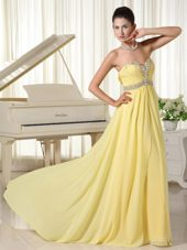 Light Yellow Beaded Sweetheart Cheap Prom Dress Chiffon