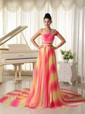 Ombre Color Prom Dress Chiffon Beaded Decorate Shoulder