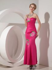 Mermaid Hot Pink Sweetheart Ankle-length Appliques Prom Dress