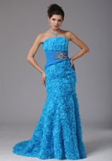Rolling Flower Baby Blue Beading Prom Dress Brush Train