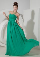 Chiffon Prom Dress Turquoise Empire Sweetheart Brush Train