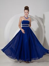 Strapless Blue Empire Strapless Chiffon Beading Prom Dress