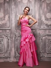 Hot Pink Column Sweetheart Taffeta Beading Prom Dress