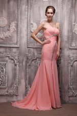 Strapless Brush Train Chiffon Beading Prom Evening Dress
