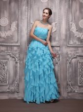 Aqua Blue Strapless Chiffon Beading and Ruffles Prom Dress