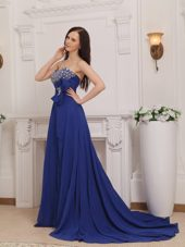 Blue Empire Court Train Chiffon Beading Bow Prom Dress