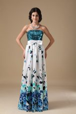 Empire Strapless Floor-length Pringting Sequin Prom Dress
