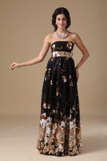 Empire Strapless Floor-length Printing Prom Dress