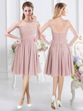Scoop Pink A-line Lace and Ruching Bridesmaid Gown Zipper Chiffon Cap Sleeves Knee Length