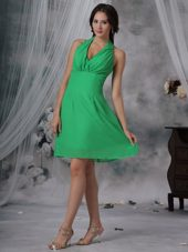 Halter Ruched Spring Green Chiffon Wedding Guest Dresses