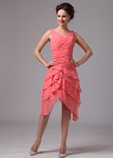 V-neck Ruched Layers Bridesmaid Dresses Watermelon Red Chiffon