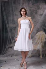 Knee-length Chiffon Ruched White Wedding Guest Bridesmaid Dress