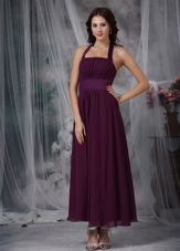 Halter Purple Ankle-length Chiffon Ruched Bridesmaid Dresses