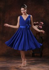 Roral Blue V-neck Bridesmaid Dresses with Ruching