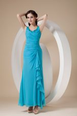 Teal Beaded Straps Ankle-length Chiffon Ruche Bridesmaid Dresses