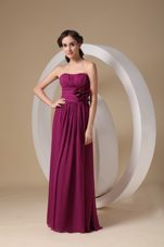 Fushsia Hand Made Flowers Chiffon Bridesmaid Dress for Wedding Party