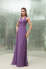 Chiffon Purple V-neck Wedding Bridesmaid Dress with Ruching