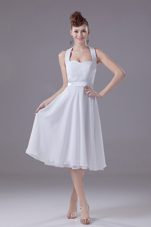 White Halter Empire Chiffon Tea-length Wedding Bridesmaid Dress
