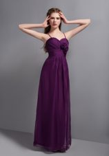 Spagehtti Straps Purple Empire Ruched Bridesmaid Dresses