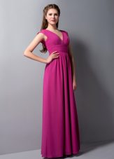 Floor-length Fuchsia V-neck Chiffon Ruched Bridesmaid Dress
