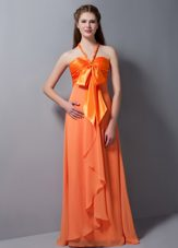 Orange Red Halter Empire Bridesmaid Dresses Ruched