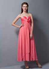 Watermelon Ankle-length Strapless Bridesmaid Dress with Ruches