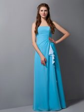 Aqua Blue Chiffon Column Strapless Ruched Bridesmaid Dress