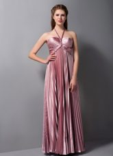 Pleated Pink Halter Elastic Woven Satin Bridesmaid Dresses