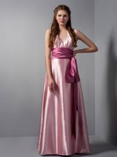 V-neck Pink Column Floor-length Ruched Bridesmaid Dresses